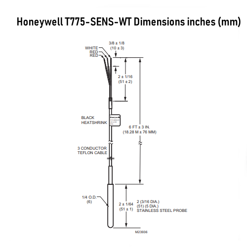 Honeywell T775-SENS-WT Water-tight Temperature Sensor with 6 FT Lead