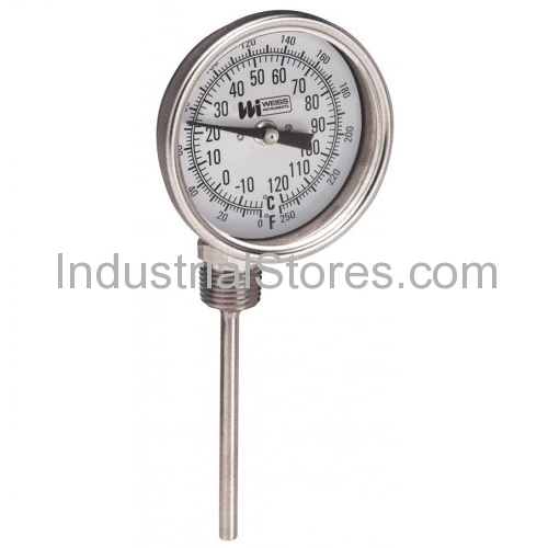 """Weiss 3RBMS4-250 Thermometer 3"""" Dial 4"""" Stem 1/2"""" Npt (0 to 250F)"""