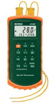 Extech 421502-NIST Dual Input Thermometer with Alarm with NIST Traceable Certificate, Type J/K